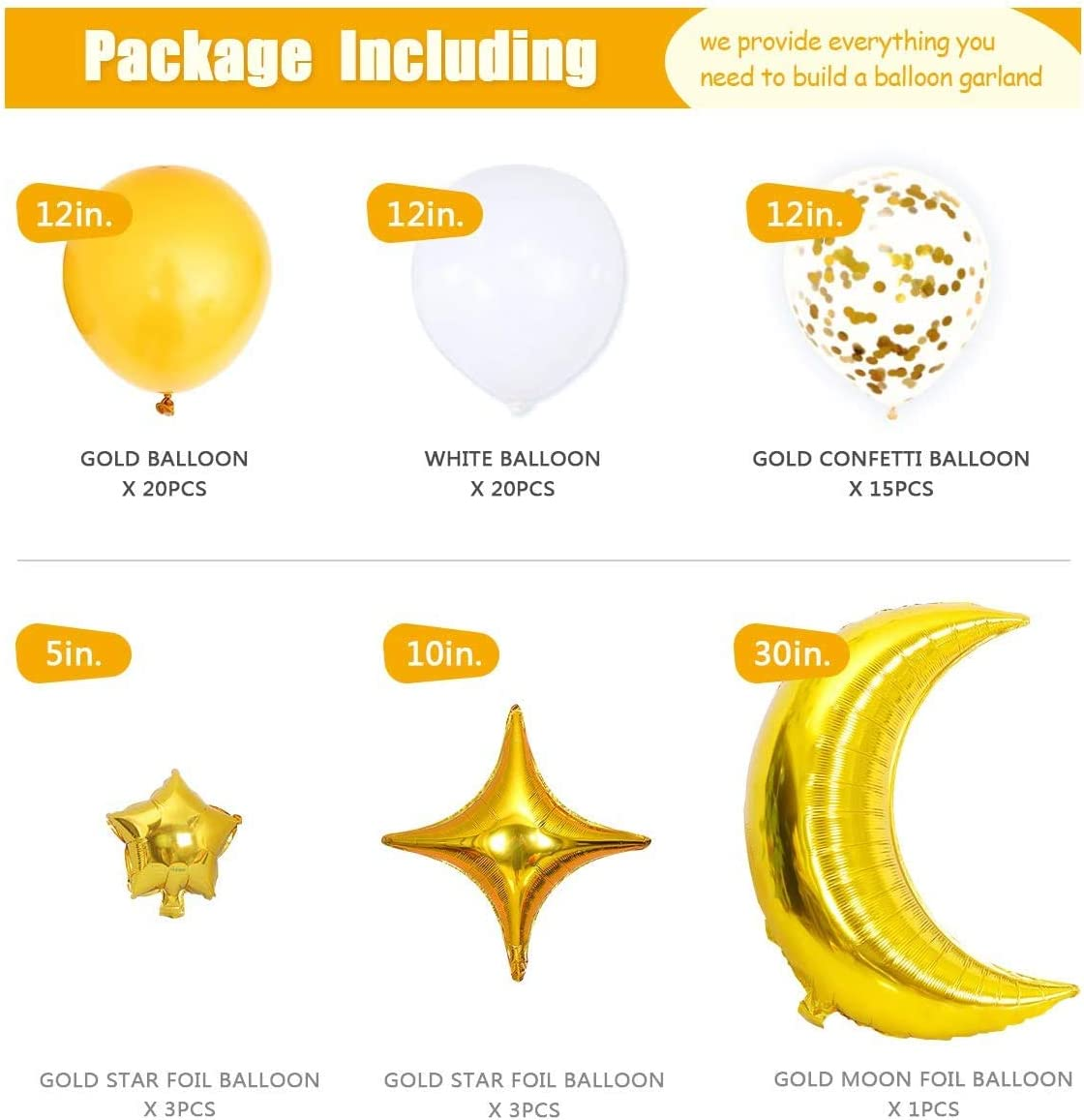 Birthday Party Decorations Garland Arch Banner Gold Star /& Moon Foil Balloon Including Star Garland Confetti Balloon /& White Balloon for Baby Shower,Gender Reveal Birthday Party Twinkle Twinkle Little Star Decorations