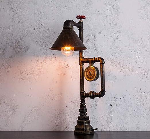 CCSUN Loft vintage Lámpara mesa habitación, Steampunk industrial ...