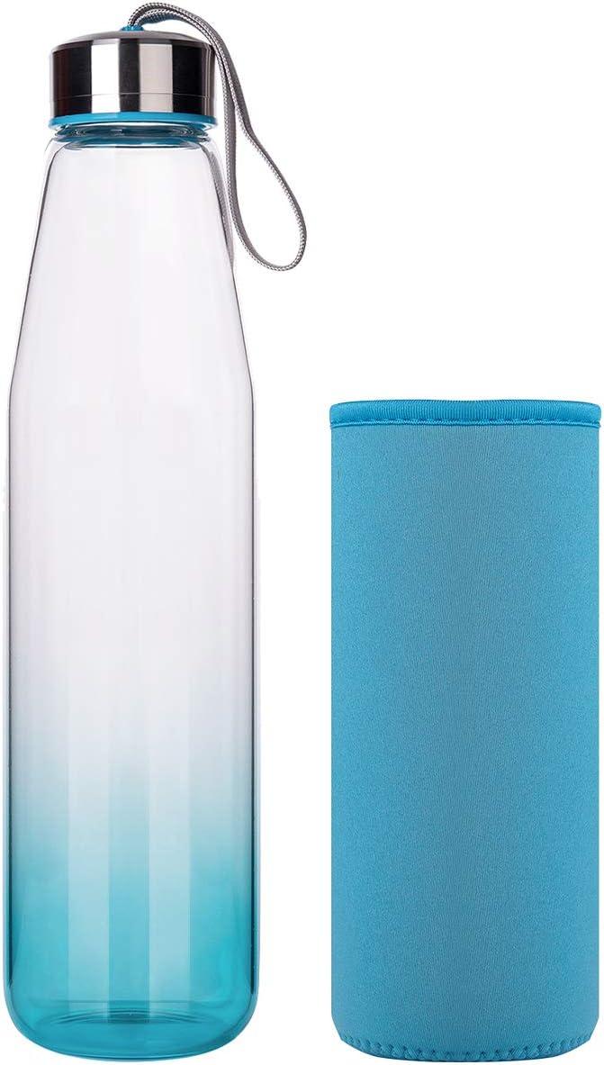Botella de Agua de Vidrio con Funda de Neopreno y Elegante Tapa de Acero Inoxidable 1000ml DEARRAY Botella de Agua de Cristal de Borosilicato Deportivo 500ml 1 Litro