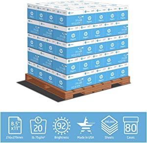 HP Paper Printer Paper 8.5x11 Office 20 lb 200000 Sheets 80 Quickpack Cartons No Ream Wrap 1 Pallet 92 Bright Made in USA FSC Certified Copy Paper 112103P