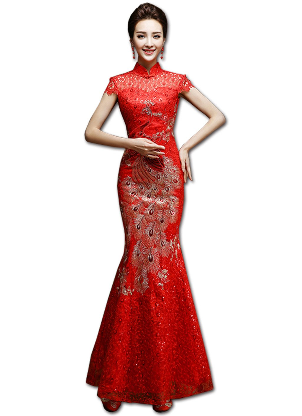 Show Wo Dress Qipao Wedding cheongsam Toast cheongsam Toast dress Slim Fishtail cheongsam Xiuhe dress National style