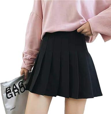 Womens Girls High Waisted Pleated Skater Tennis School Skirt Uniform Skirts with Lining Shorts