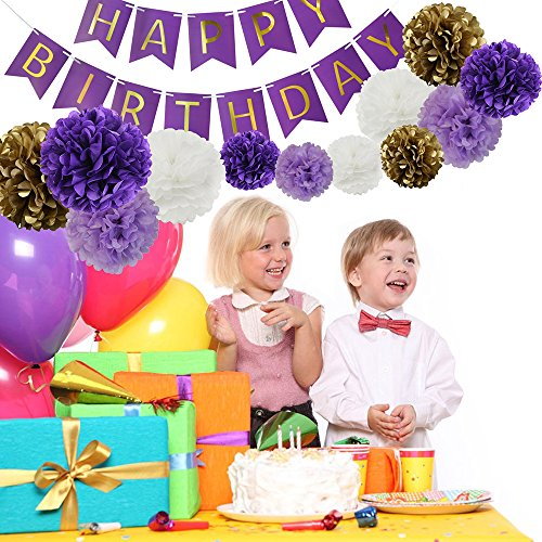 Happy Birthday Party Decoration Kit Purple Happy Birthday Banner With Purple Tissue Paper Pom Poms Paper Flowers by Wcaro (Image #1)