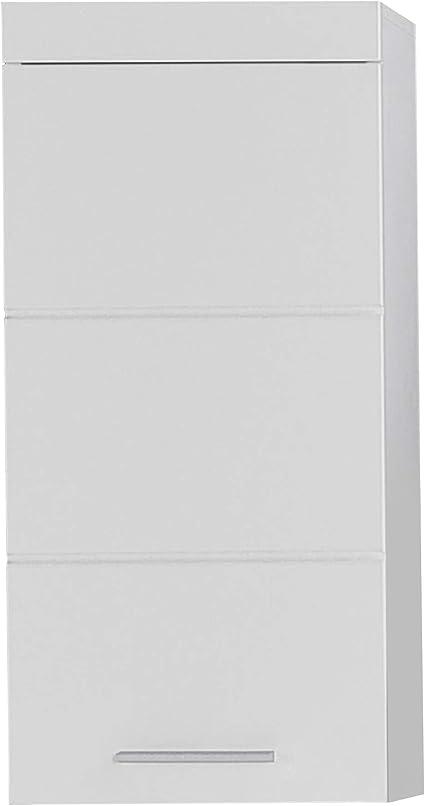 Oferta amazon: trendteam smart living Armario de pared suspendido para baño Amanda, 37 x 77 x 23cm, en blanco y blanco de brillo intenso, con abundante espacio de almacenamiento