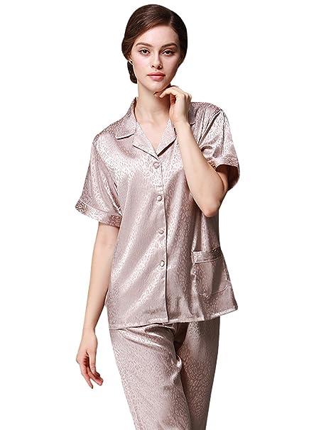 Menschwear Mujer Rayón Pijamas de la Serie Pantalones Pijamas de Ocio (S,Marrón)