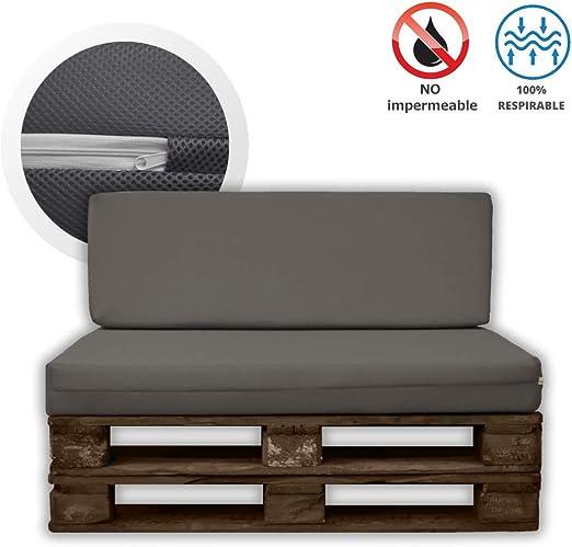 MICAMAMELLAMA Pack Asiento + Respaldo para Sofá de Palet Exterior e Interior - Funda Gris de Tejido 3D Hipertranspirable - Espuma HR Alta Densidad - Grosor 12cm: Amazon.es: Jardín