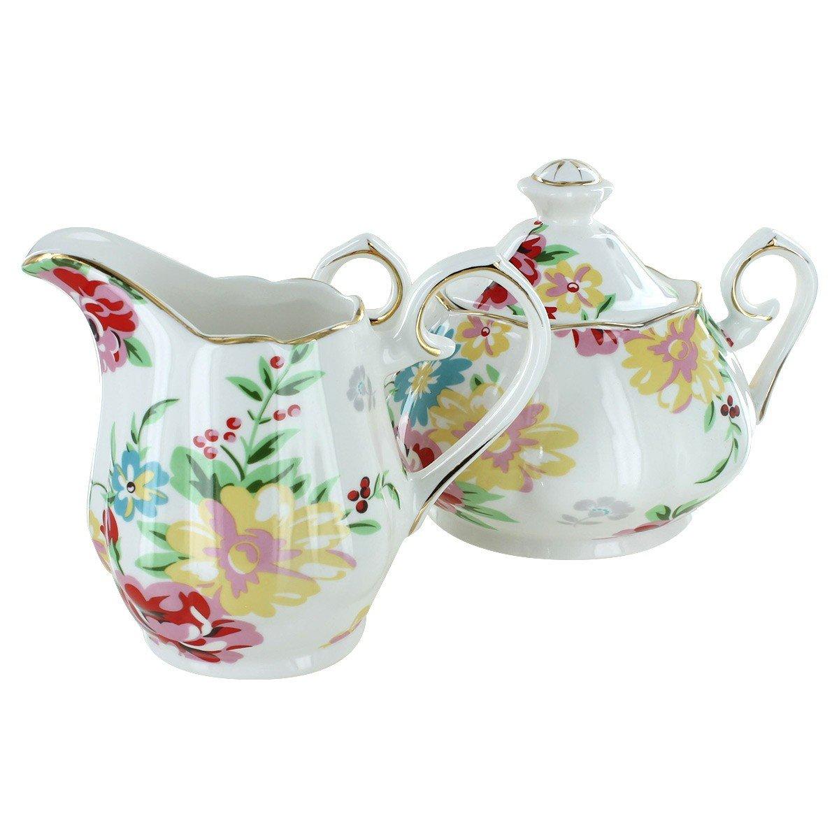 Shabby Rose Cream Porcelain - Sugar and Creamer Set