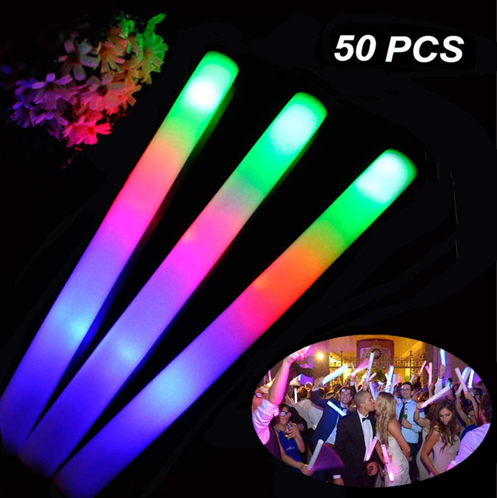 Foam Glow Sticks Bulk 50PCS - Light Up Toys Glow in The Dark Party Supplies with 3 Modes LED Flashing, Party Favors for Kids and Adults by AOLODA (Image #1)