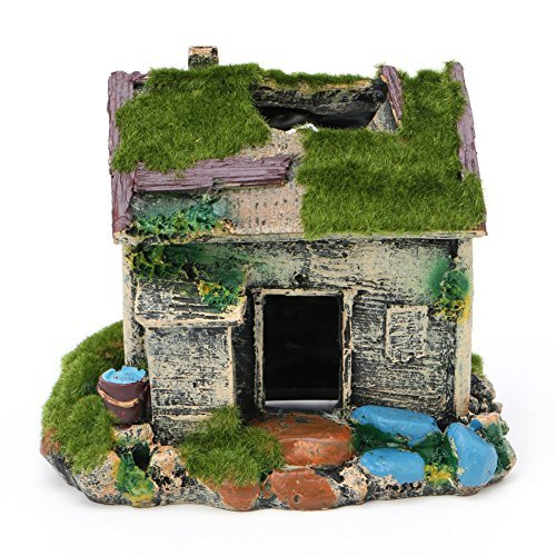 Delight eShop Aquarium Landscaping Decoration Resin House Cave Fish Tank Ornament With Moss