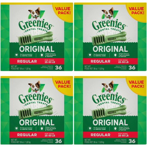 Greenies Dental Chews Value Size Tub 144ct 36oz Regular (4 x 36oz)