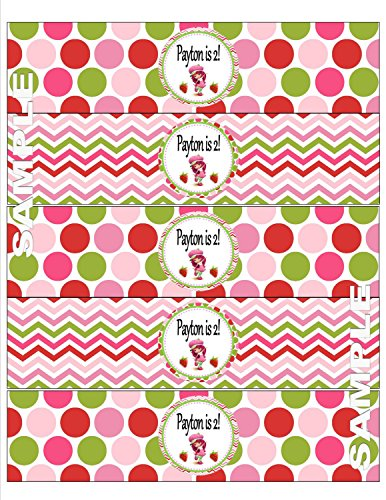 Bottle 15 Strawberry - 15 - Water Bottle Labels - Strawberry Shortcake Inspired Happy Birthday Collection - Pink and Green Polka Dots and Chevron & Hot and Light Pink and Mossy Green Accents - Party Packs Available