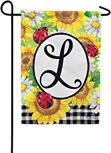 Custom Decor Sunflower Ladybugs - Letter L - Embroidered Monogram - Decorative Double Sided Flag - Garden Size, 12 Inch X 18 Inch, Licensed, Copyright & Trademark CDI. USA