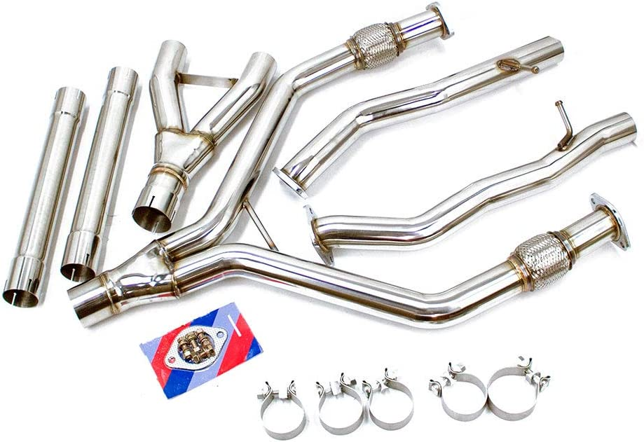 Stainless Steel Bolt On Rev9 DP-408/_1 Y-Pipe Exhaust Piping Kit compatible with Infiniti Q50 V6 3.0L Twin-Turbo 2016-19 2.5 into 3 Inch