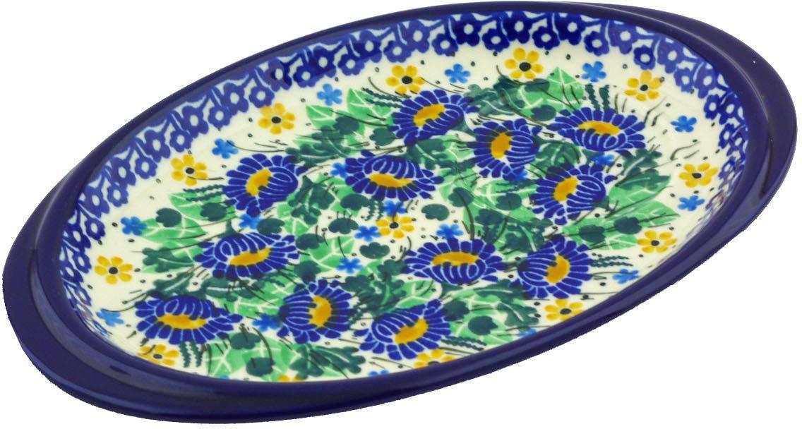 Polish Pottery Saucer Tray 9-inch Peeking Flowers UNIKAT