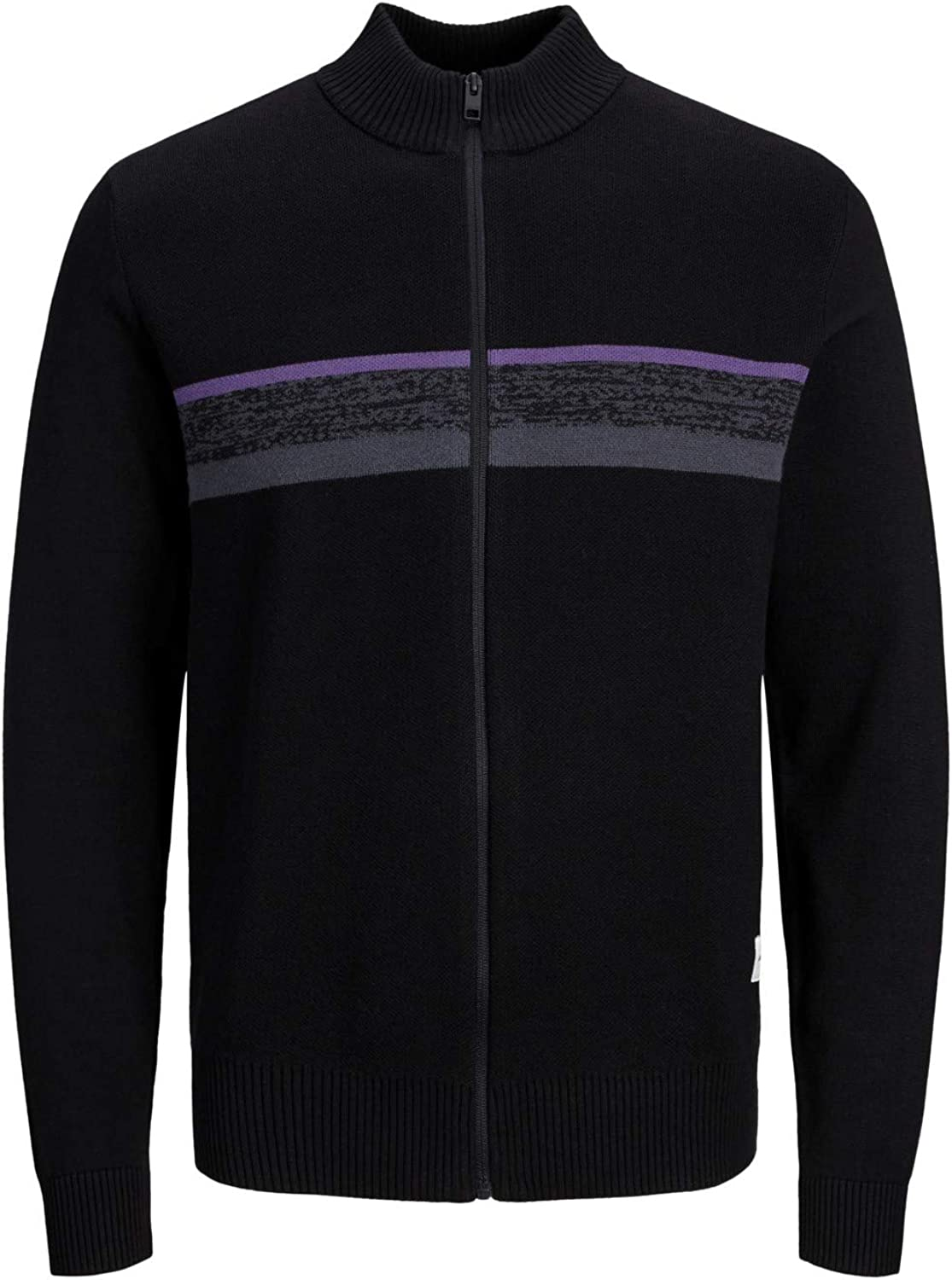 Jack and Jones Mens Knitted Cardigan Full Front Zipper Stand Collar High Neck Ribbed Hem Black Casual Jumper