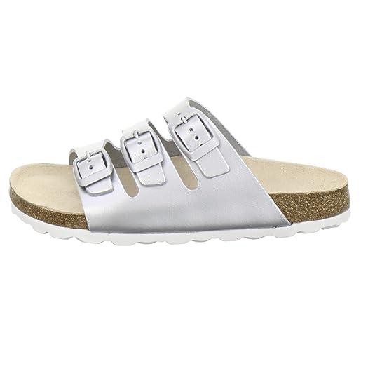 AFS-Schuhe 1133, Bequeme Mädchen Pantoletten, Echtes, Hochwertiges Leder Größe 29 Weiß (Weiß)