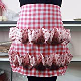 Hense Apron with 12 Pockets, Perfect for Farmer House-hold Clever Housewife Must Have Apron(HSW-027-001 red/white checks with pink floral)
