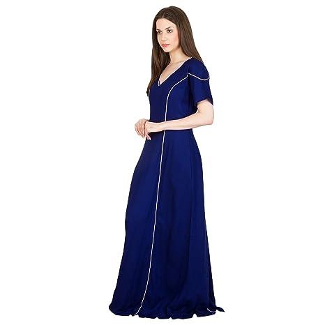 e37ec92dbb Patrorna Blended Women s Princess Line Nighty Night Dress in Royal Blue (Size  S-7XL
