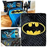 DC Comics Batman Full Bedding Set - Reversible Comforter, Sheet Set, Two Reversible Pillowcases, Batman Logo Throw Blanket - Kids