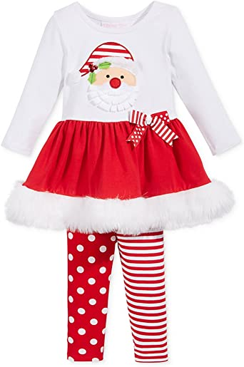 Bonnie Jean Little Girls Holiday Christmas Santa red Outfit Dress 2pc Set 5 6
