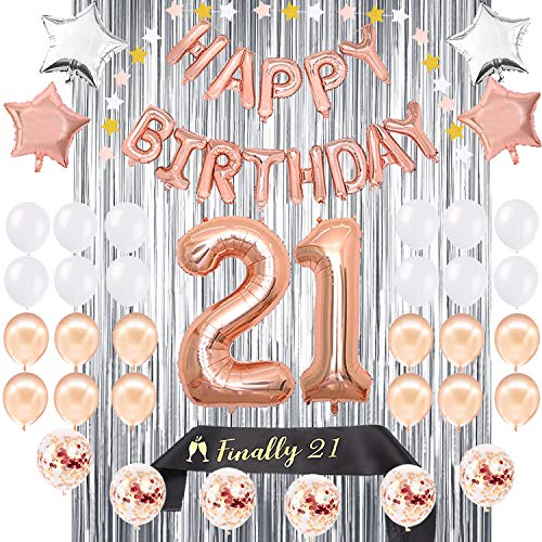 21st Birthday Decorations | 21 BDay Party Supplies | Rose Gold Confetti Balloons for her | Finally Legal 21 Sash | Silver Curtain Backdrop Props for Photos Twenty One Balloon Sign]()