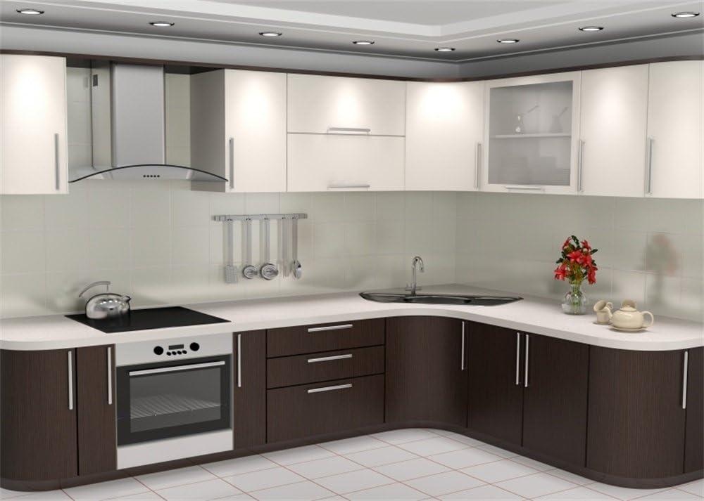 YongFoto Moderno fondo de cocina abierto de 2,2x1,5m estilo europeo gabinete fondos para fotografía blanco suelo de mármol interior vinilo foto fondo estudio accesorios: Amazon.es: Electrónica
