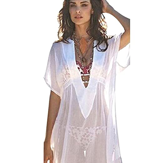 9e637c9754 Handyulong Women Beachwear Cover up Chiffon Long Thin Sunscreen Bikini  Swimsuit Blouse Tops for Teen Girls at Amazon Women s Clothing store