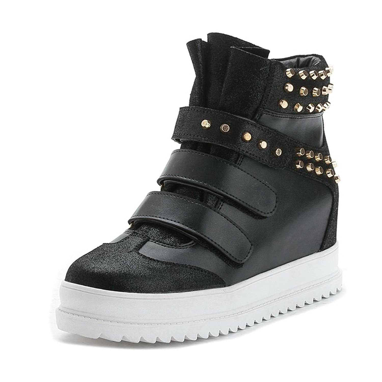 BalaMasa Womens Heighten Inside Rivet Platform Ring Velcro Cow Leather Boots