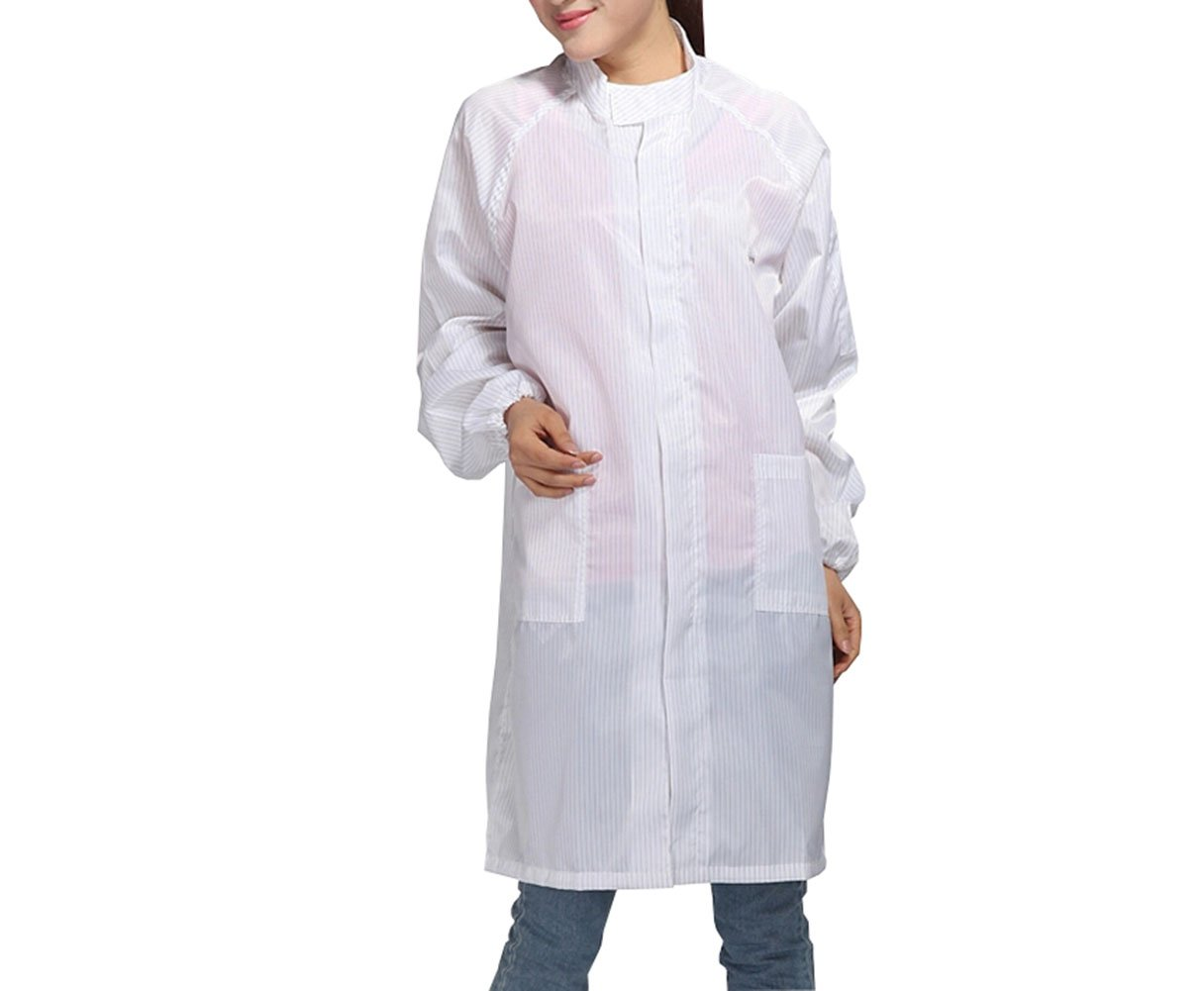 Olyer ESD Overall Gown Anti Static Stand Collar Gown Zipper Dust-Free Clothing Work Clothes (XXL, White)