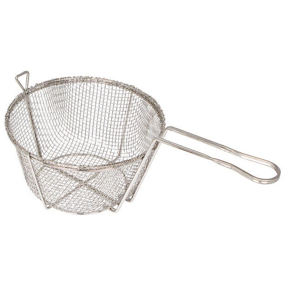 Winco FBR-11, 11.25 x 6-Inch 4-Mesh Round Wire Fry Basket with Handle, Heavy-Duty Deep Fryer Basket