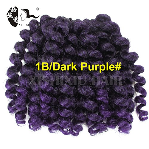 Beauty : 8'' 75g Jumpy Wand Curl Twist Crochet Braid Jamaican Bounce African Synthetic Braiding Hair 2Pcs/Lot (1B/Purple#)
