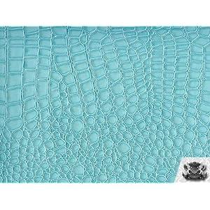Vinyl Crocodile AQUA BLUE Fake Leather Fabric By the Yard