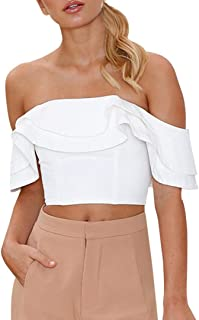 Homebaby® T Shirt Donna Vintage off Spalla- Causal Maglietta Donna Manica Corta Elegante - Sciolto Top Tumblr Estiva Particolari Magliette Corte Ragazza Tumblr T-Shirt Donna