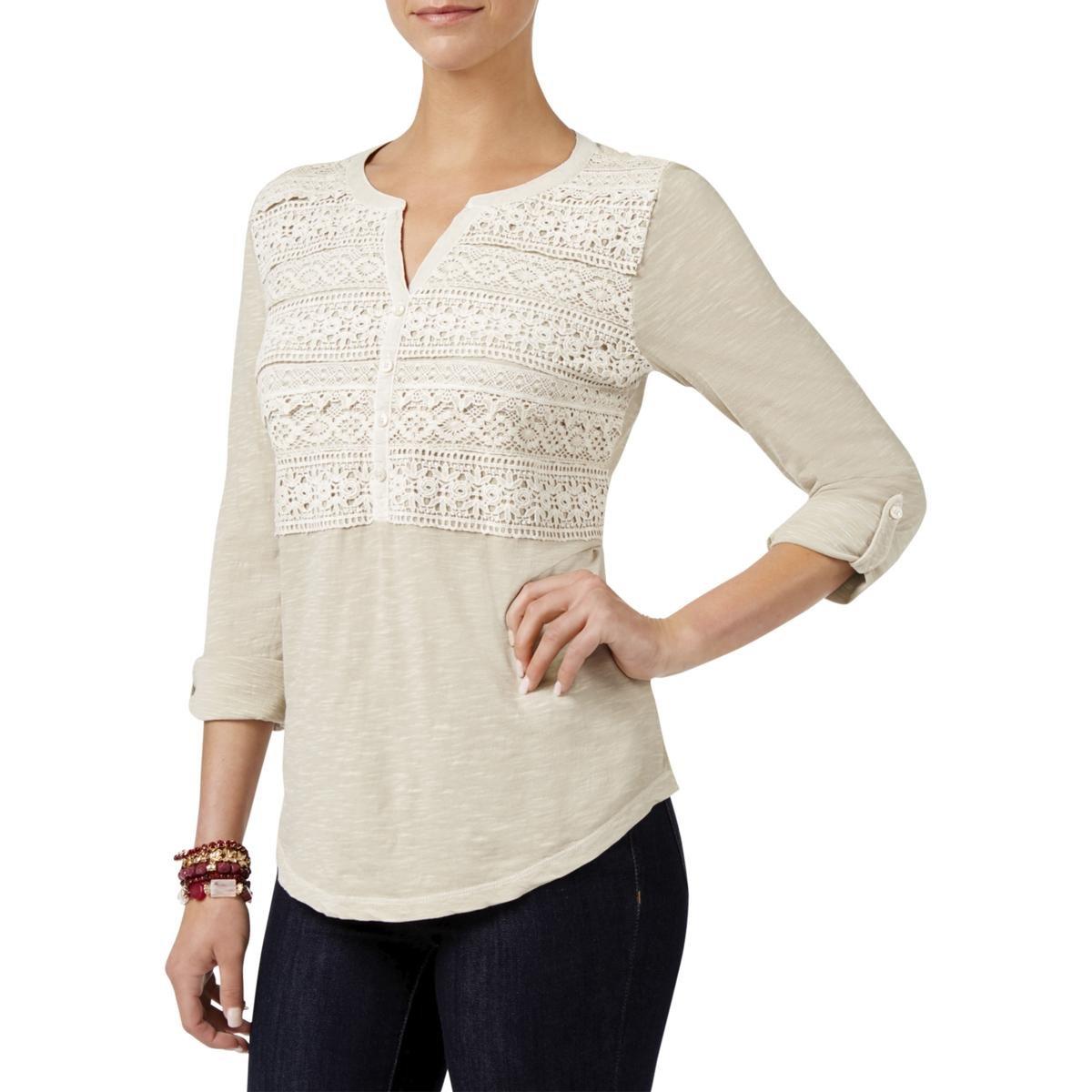 Style & Co. Womens Scallop Crochet Casual Top Beige XL