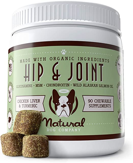 Natural Dog Company Hip & Joint Supplement with Glucosamine, Chondroitin and Salmon Oil, Promotes Mobility and Relieves Joint Pain, Chicken Liver & Turmeric Flavor, 90 Chews