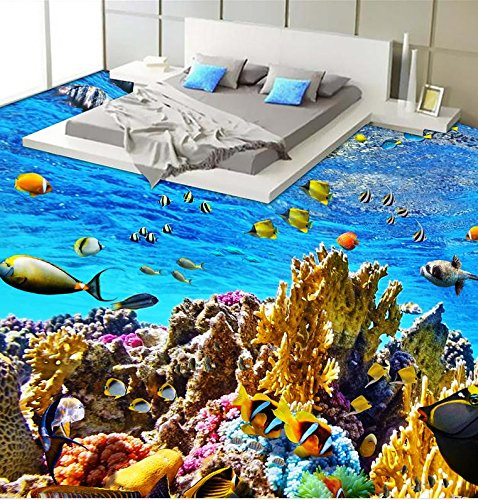 LWCX Sea World 3D Flooring Pvc Waterproof Floor Self-Adhesive 3D Floor Home Decoration 3D Floor Paper 200X160CM
