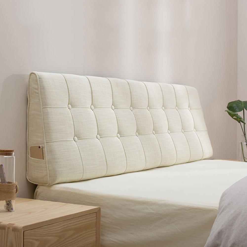 QiangDa Rückenlehne Bett Kissen Dreieckiges Rückenkissen Lordosenstütze Flachs Softmatte Am Bett Waschbar Schlafzimmer, 10 Feste Farben, 7 Größen Wahlweise (Farbe   5 , Größe   180 x 15 x 50cm)