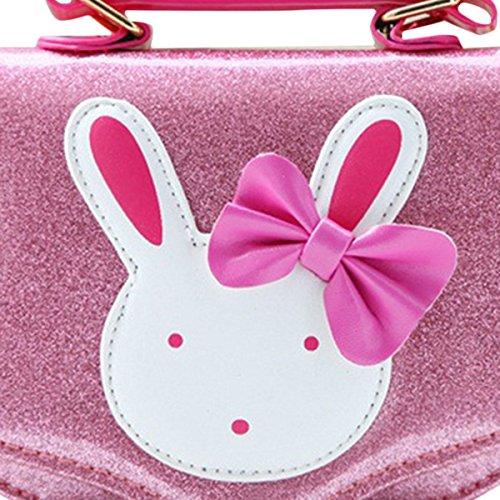 Happy Cherry Kleines Mädchen Tasche Kinder Umhängetasche Mode Frauen Schultertasche PU Leder Handtasche Mit Häschen Verstellbar Schultergurt Taschen Kindertasche Girls Bag 15,5 * 6,5 * 12cm - Rosarot Rosa