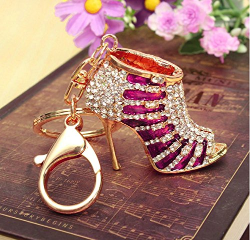 Crystal Rhinestone Diamante Red High Heel Shoe Decoration Chain for Phone Car Bag Key Ring Keychain Charm Gift - Perfect for Women Ladies Girls