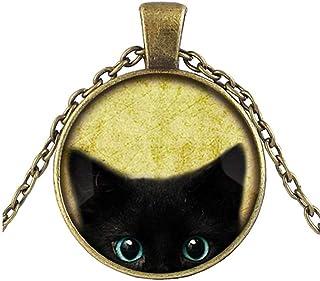 Uhat® Chat Noir Collier Femme Pendentif rond en métal Lovely manuellement Peeking–Pendentif chat noir–Adorable Chat Noir Bijoux
