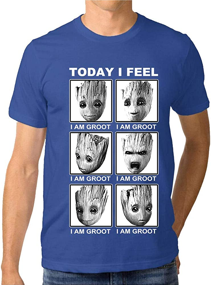 Bye-2 Funny Today I Feel I Am Groot Guardians of The Galaxy 100 Cotton T-Shirt for Men Navy Blue