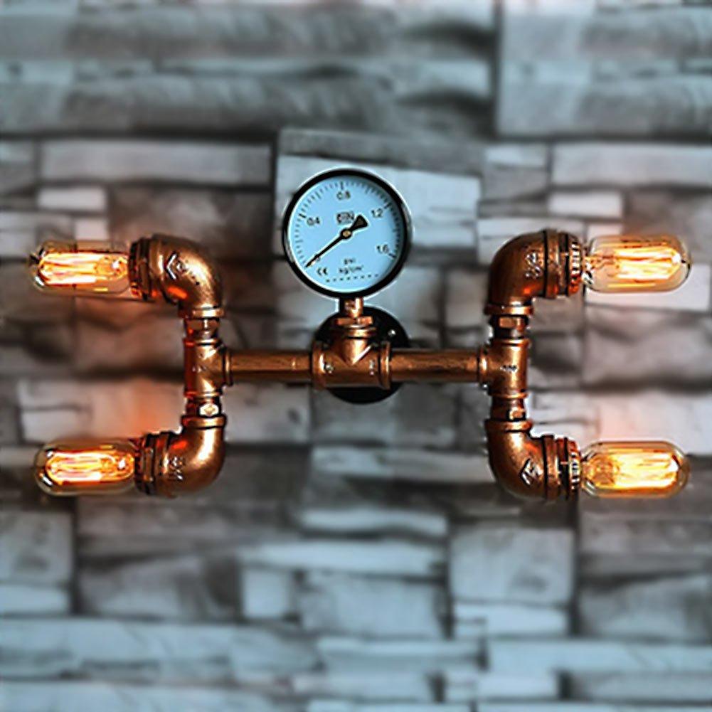 Aplique de pared de tubo de agua, SUN RUN Metal 4 cabeza Vintage Industrial pared luminaria con estilo retro para la barra, cocina, sala de estar y dormitorio, lá mpara de socket E26 lámpara de socket E26