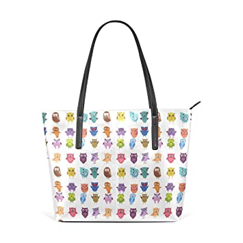 6320ed87b5cd Amazon.com: Women's Leather Owl Colorful Tote Purses Handbags ...
