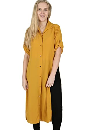 58d9e8900d WOMEN LATEST CONTRAST BUTTONED LONG SHIRT DRESS LADIES CHIFFON DIPPED HEM  SIDE SLIT BUTTON MAXI 8-14 UK: Amazon.co.uk: Clothing