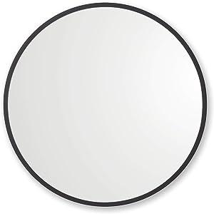 "Better Bevel 18"" x 18"" Black Rubber Framed Mirror   Round Bathroom Wall Mirror"