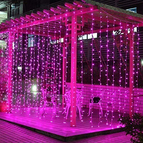 (FengYun 300 LED Window Curtain String Light, LED Curtain Lights Icicle Lights, 8 Modes String Lights for Indoor Outdoor Decoration Wedding Christmas Party Home Garden (Pink))