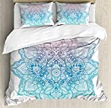 Lotus Duvet Cover Set by Ambesonne, Bohemian Tattoo Style Zen Pastel Toned Mandala Abstract Lotus Flower Design, 3 Piece Bedding Set with Pillow Shams, Queen / Full, Lilac Light Blue