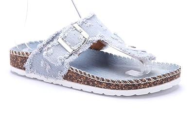 Schuhtempel24 Damen Schuhe Zehentrenner Sandalen Sandaletten Weiß Flach Schnalle 9fTZi9