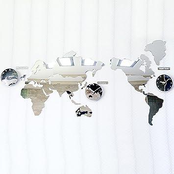 Amazon mcc acrylic mirror wall clock world map diy 3d puzzle mcc acrylic mirror wall clock world map diy 3d puzzle wall stickers bell gumiabroncs Gallery