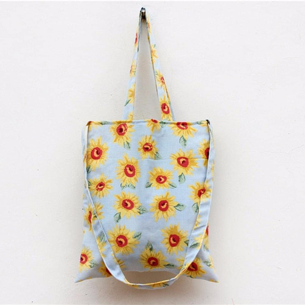 GBSELL Women Sunflower Shoulder Bag Student Bag Handbag Shopping Bag Light Blue